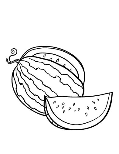 Printable watermelon coloring page. Free PDF download at