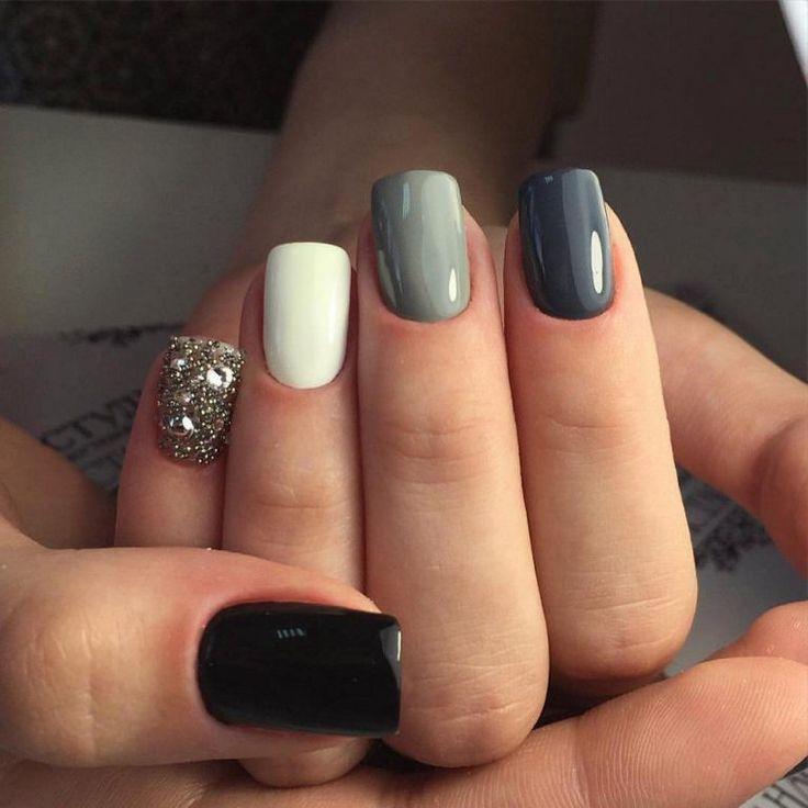 Beautiful nails 2017, Evening nails, Glossy nails, Gray nails, Luxury nails, Mediu