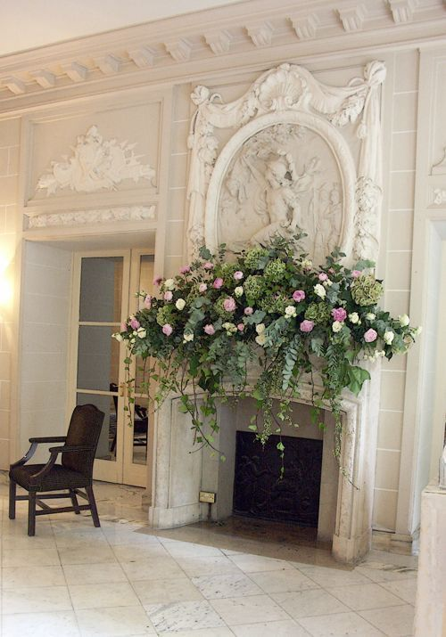 Not this full but Drapey  Beautiful fireplace with floral