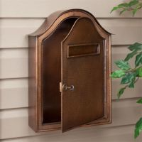 Large Hammered Copper Locking Wall-Mount Mailbox - Antique ...