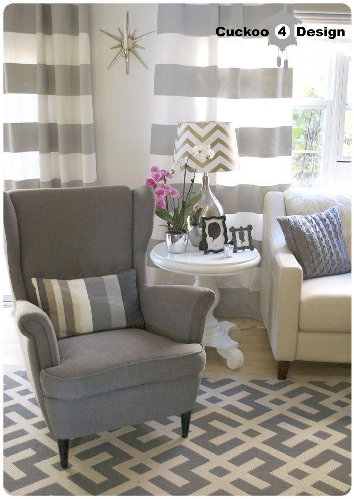 Ikea Strandmon chair grey horizontal striped curtains