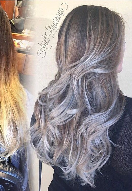 Silver ombr hair with long layers Perfect fall the fall time Love it Blonde brunette dark