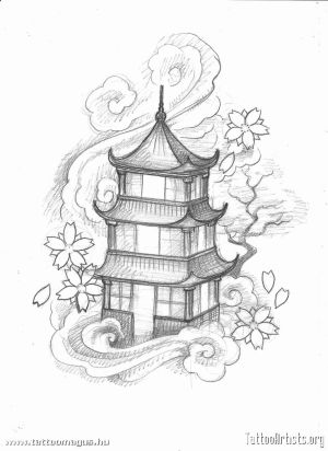 japanese pagoda drawing tattoo designs japan tattoos building oriental temple simple drawings chinese artists templo getdrawings sketches cloud stencils samurai