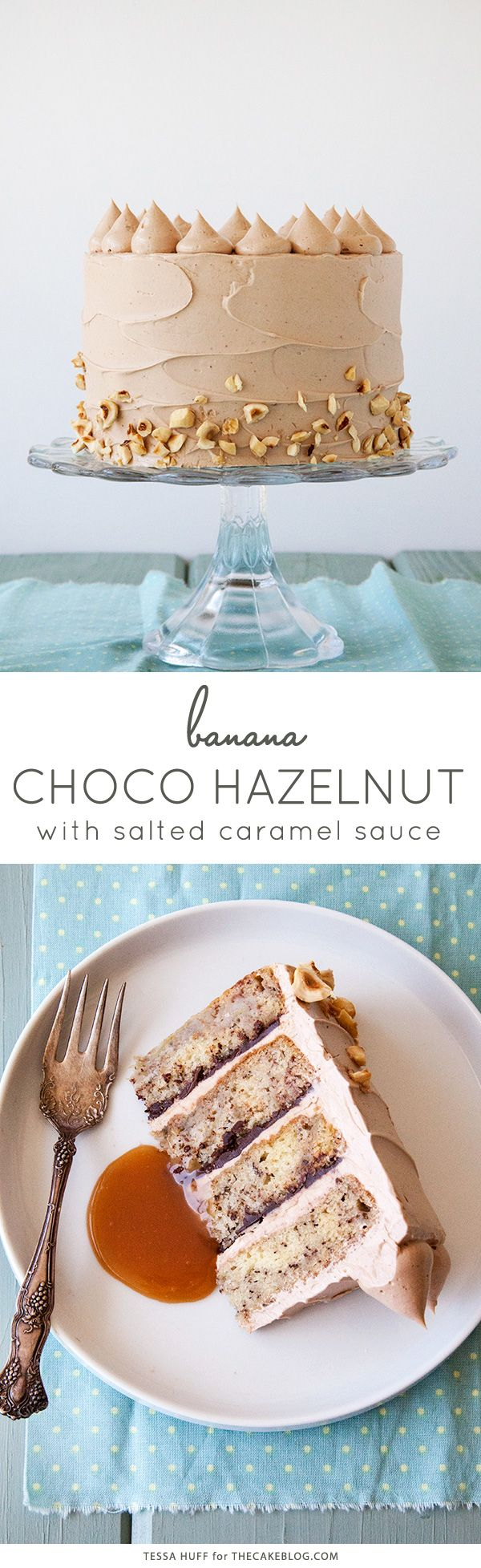 Banana Chocolate Hazelnut Cake with Salted Caramel Sauce. Or, in other words, all of my favorite flavors in one cake. This one is