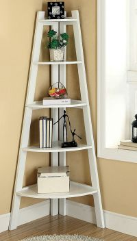 Corner Ladder Shelf White - WoodWorking Projects & Plans