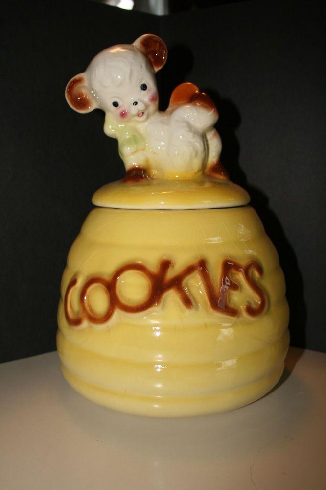 kitchen pottery canisters wall shelves vintage lamb cookie jar | jars pinterest ...