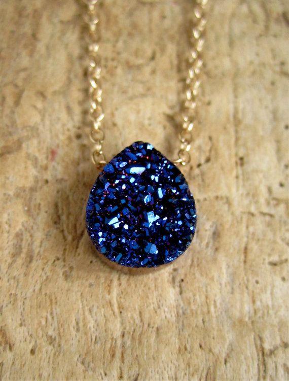 Blue Druzy Necklace Titanium Drusy Quartz 14K by julianneblumlo, $64.00
