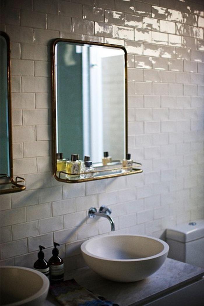Rustic subway tilevintage mirror  Bathroom remodel