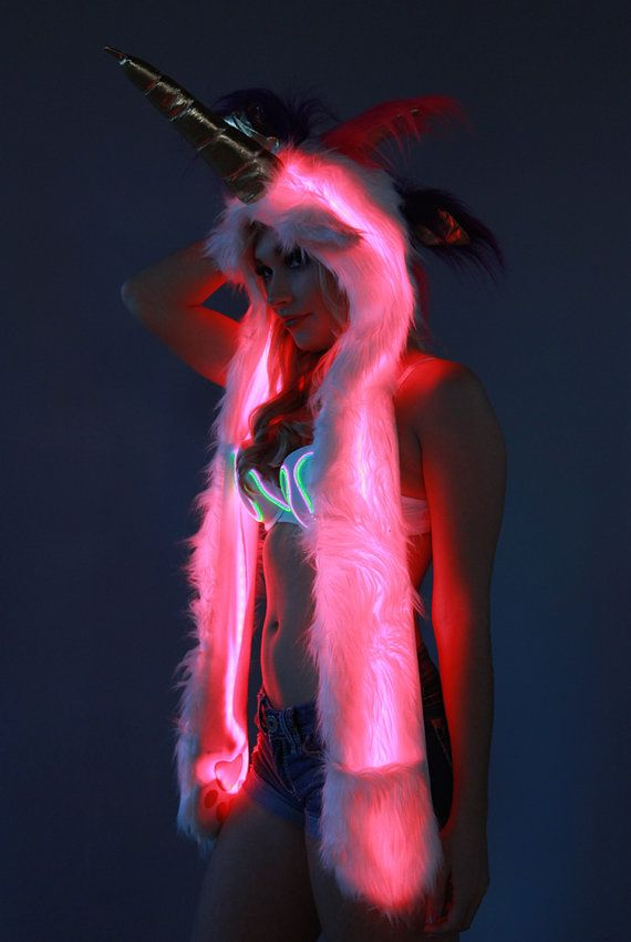 Unicorn Fur Hood With Ultra Bright Color Control LEDs