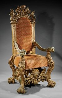 A Monumental Italian Baroque-Style Carved Giltwood Throne ...