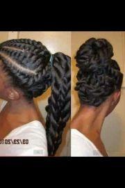 flat twists long ponytail hair