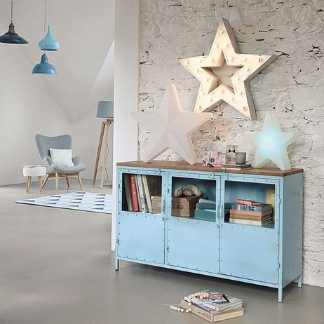 Buffet En Mtal Bleu L 130 Cm Bloom Maisons Du Monde