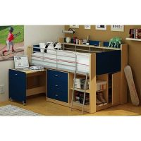 Charleston Loft Bed with Desk, Navy and Natural | Boys ...