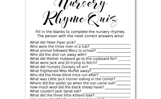 Gold Nursery Rhyme Quiz Baby Shower Game Printable File