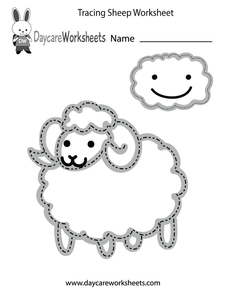 Preschoolers can trace a sheep and a cloud and then color