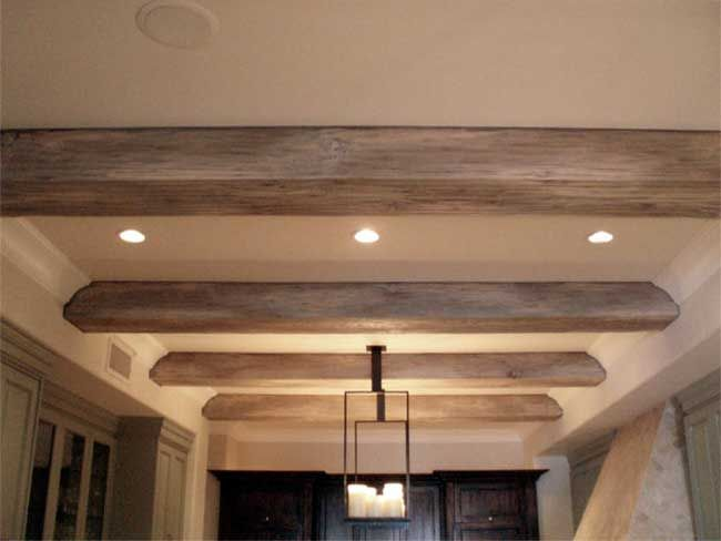 faux driftwood beams