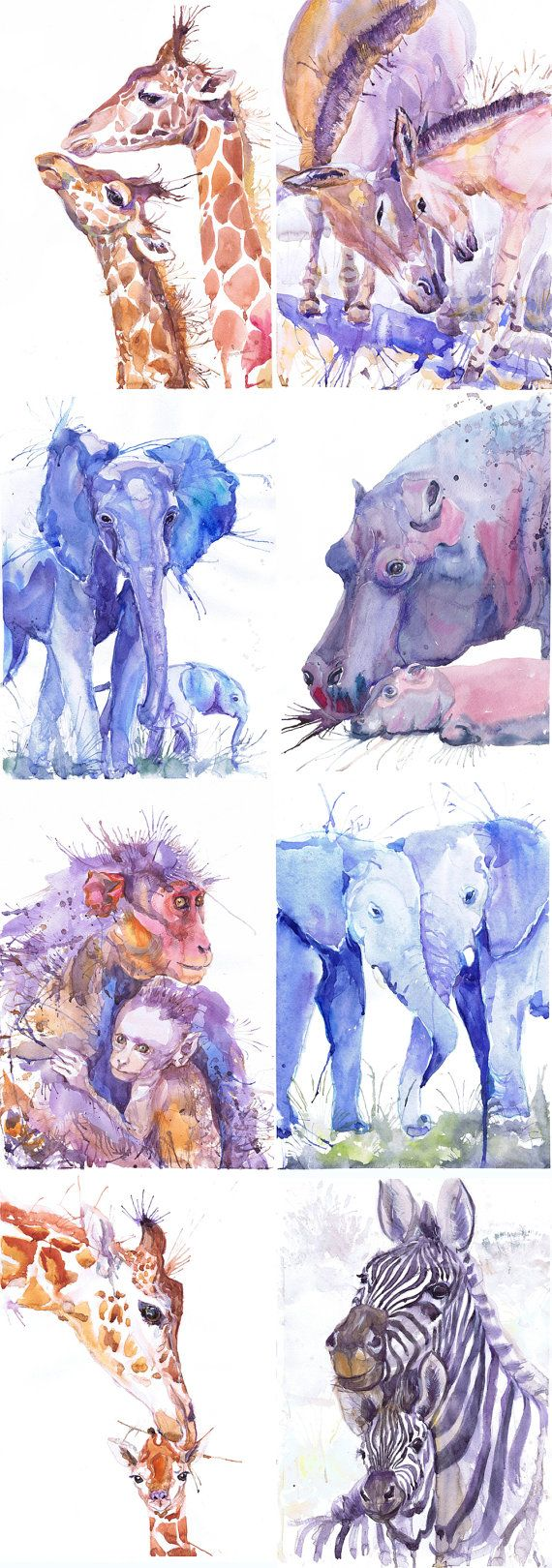 ACEO Artist Trading Cards Art Prints Watercolor Painting Jungle Safari Animals ATC Giclee, Set of 8 Si