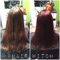All over brighter red violet hair color using Matrix ...
