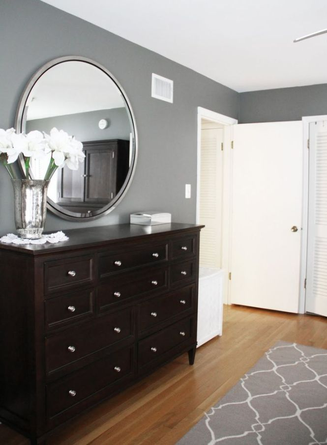 Benjamin Moore Amherst Gray In This Bedroom With A And White Patterned Rug