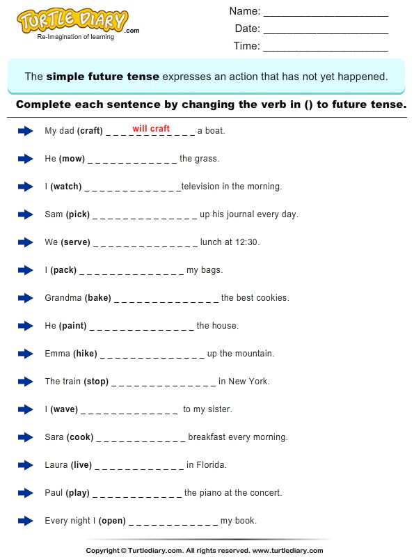 Change The Verbs To Future Tense Form 1 Worksheet  Turtlediarycom  Bible Verses And