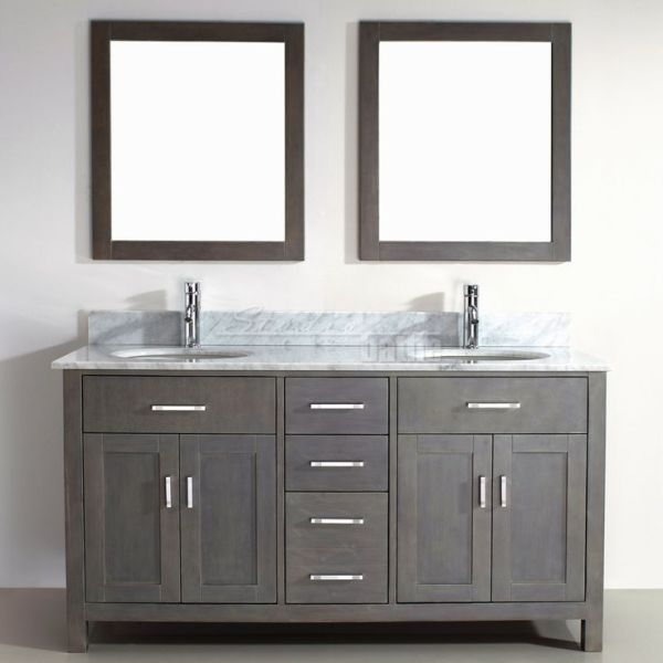 gray double sink bathroom vanity Double Sink Bathroom Vanity Kalize 63 French Gray Finish
