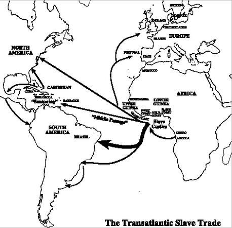 his image shows a map of Transatlantic slaves being