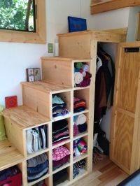Good idea for tiny house stairs, which includes LOTS of