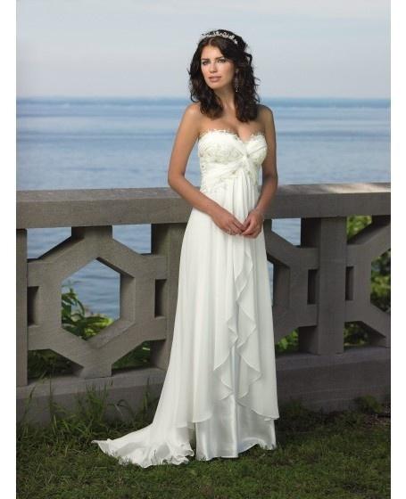 Destination Wedding Dress Sweetheart Sweep Train Chiffon  Wedding Dress  Mother of the Bride