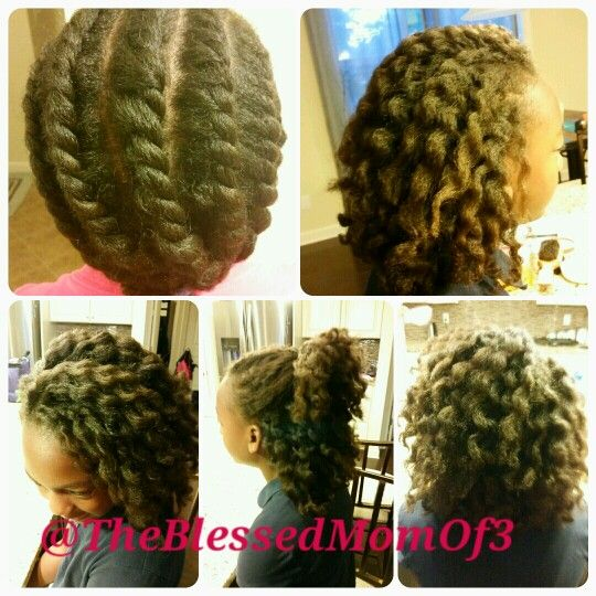 Jumbo Twist Out On Blow Dried Natural Hair Childrens