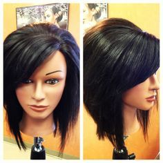 long stacked bob with bangs – Google Search