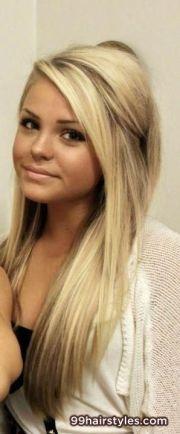 simple long blonde wedding hairstyle