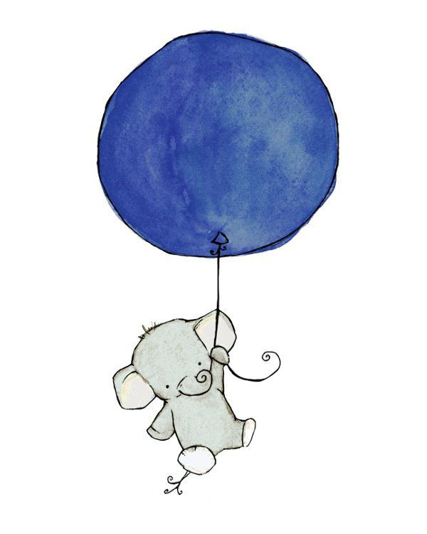 children's art - flying high elephant