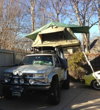 The roof top tent finally mounted on the Tahoe! Safari he ...