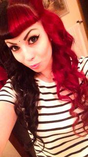 red black hair with bangs