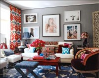 blue and red living room with a lot of pattern | Colorful ...