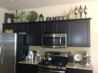 Home decor. Decorating above the kitchen cabinets. Kitchen ...