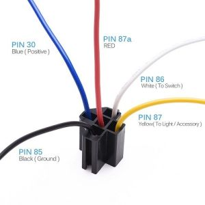 12V 3040 amp 5 pin SPDT automotive relay with wires  harness socket 5 pcs | CAR ACCESSORIES