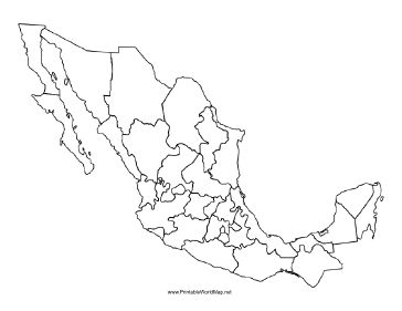 This printable map of Mexico is blank and can be used in