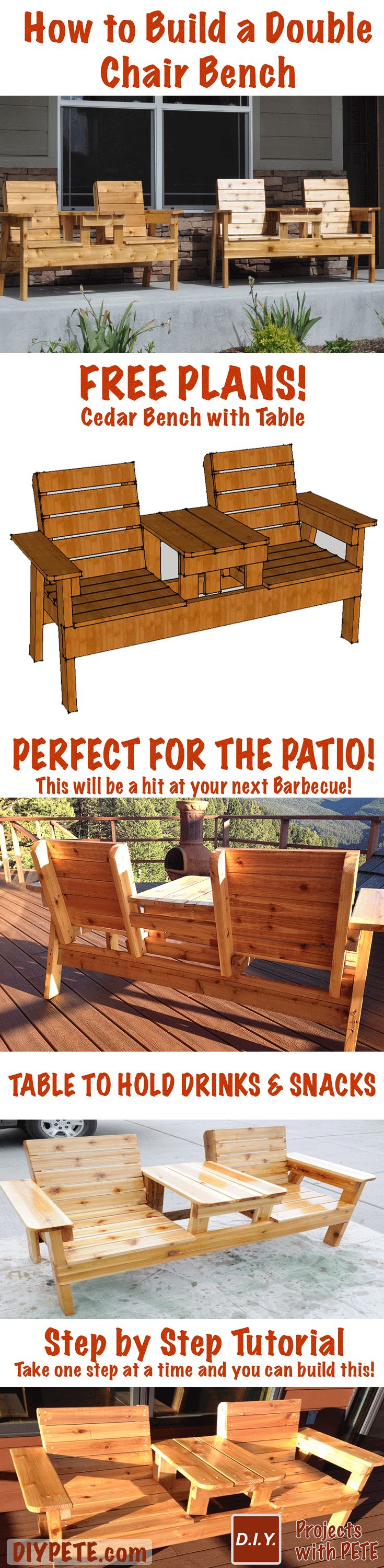 Build your own Double Bench Chair with FREE plans and a 15 minute video tutorial that breaks this proj