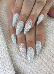 silver glitter stiletto gel nails
