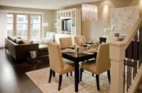 contemporary living room and dining room interior combo ...