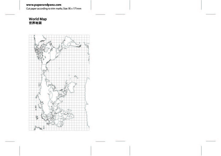 Simple World Map for personal size planner. Instant