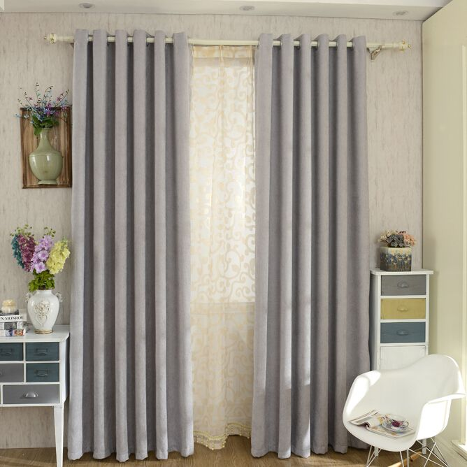 Modern Chenille Grey Bedroom Curtains Blackout  Grey