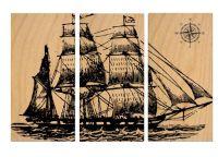 Vintage Pirate Ship SAILBOAT - Screen Print - Wood ...