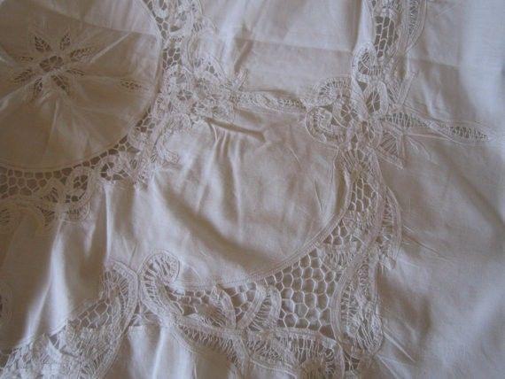 Vintage Ecru Battenburg Lace Duvet 2 Pillow Shams Queen