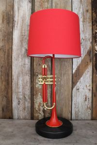 Bright Red Unique Trumpet Lamp by FFUTSSTUFF on Etsy https