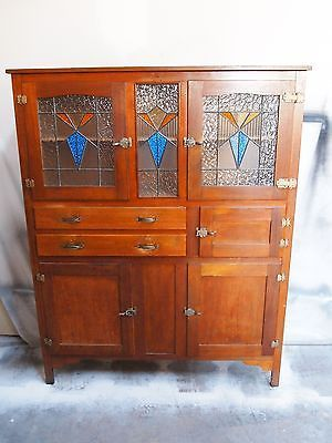 Vintage Retro ARTDECO Leadlight Kitchen Dresser Cabinet