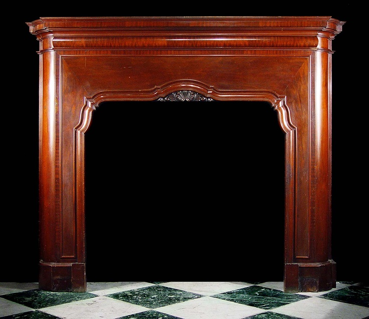 Antique Mahogany Art Deco Fireplace Mantel  Art Deco