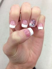 french tip with cheetah nails