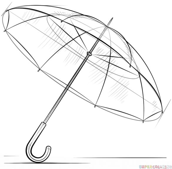 How to draw an umbrella step by step. Drawing tutorials